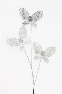 Lace Effect Butterfly Spray - Silver